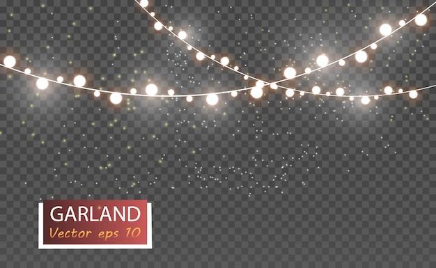 Natale luminoso, belle luci, elementi di design. luci incandescenti per la progettazione di biglietti di auguri di natale.
