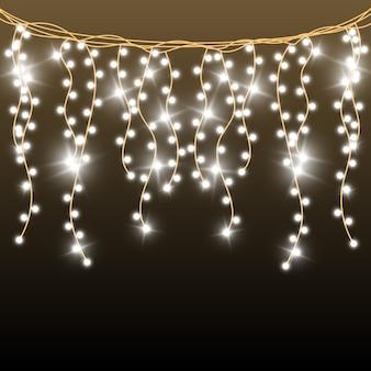 Natale luminoso, belle luci, elementi. luci incandescenti per biglietti di auguri di natale. ghirlande, decorazioni natalizie chiare.