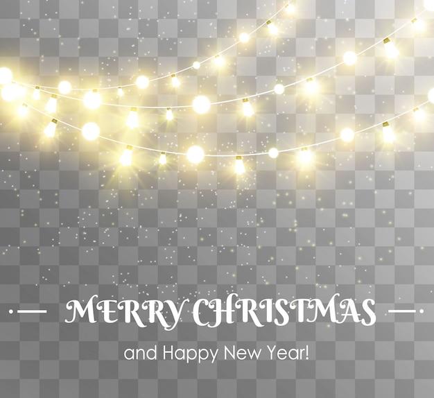 Natale luminoso, belle luci, elementi. luci incandescenti per la progettazione di biglietti di auguri di natale. ghirlande, decorazioni natalizie chiare.