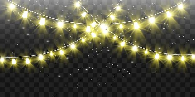 Natale luminoso, belle luci, elementi. luci incandescenti per la progettazione di biglietti di auguri di natale. ghirlande, decorazioni natalizie leggere.