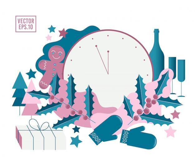 Natale o capodanno. composizione festiva con albero sacro e presenta scatole, regali, bottiglia di champagne e bicchieri, pan di zenzero, albero di natale