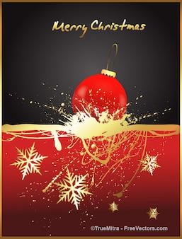 Natale palla d'oro con inchiostro disegno di sfondo