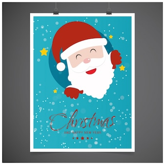 Natale postern con la tipografia e santa in blue color su sfondo grigio