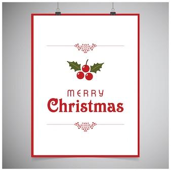 Natale postern con tipografia e bacche con foglie su sfondo grigio