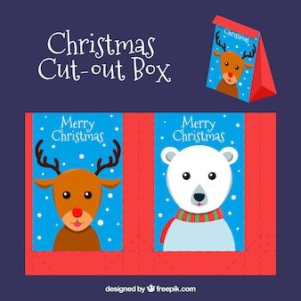 Natale ritagliato la scatola con gli animali