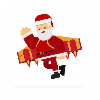 Natale santa volando con uno zaino jet