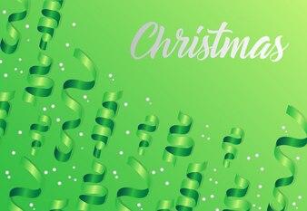 Natale scritte su sfondo verde con stelle filanti