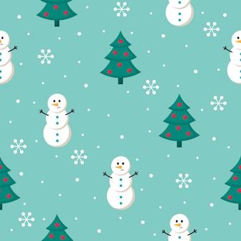 Natale seamless con pupazzo di neve isolato su sfondo blu.