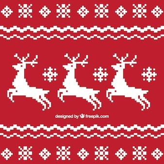 Natale sfondo rosso con cervi bianchi