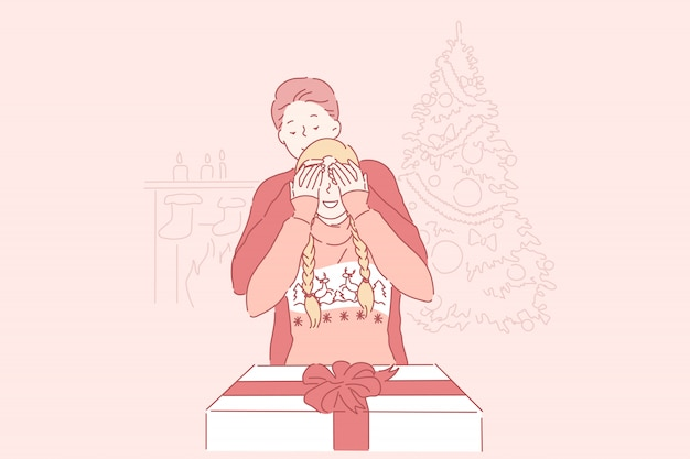 Natale, sorpresa, concetto di famiglia