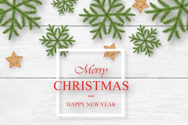 Natale su fondo di legno bianco con i desideri
