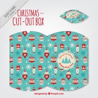 Natale tagliato scatola con xmas motivi