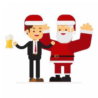 Natale uomo d'affari e babbo natale