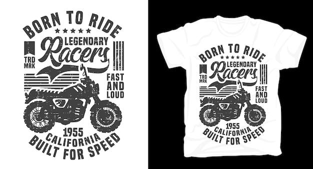 Nato per guidare la maglietta da moto retrò vintage di piloti leggendari