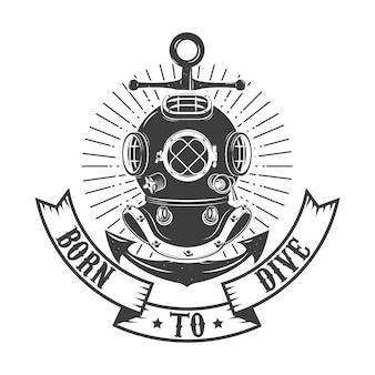 Nato per immergersi. casco da sub stile vintage con ancora isolato su sfondo bianco. modello di emblema club o scuola di immersioni.