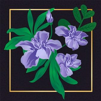 Natura d'annata della foglia del fiore porpora floreale
