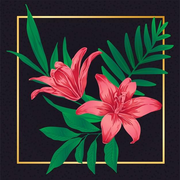 Natura d'annata della foglia del fiore rosso floreale