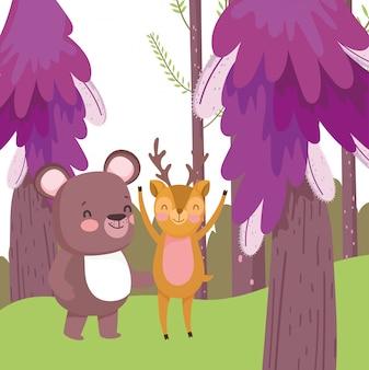 Natura del fogliame della foresta del personaggio dei cartoni animati dei piccoli orsacchiotti e cervi