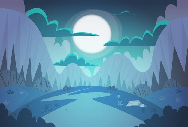 Natura della strada campestre del paesaggio di notte della primavera della catena montuosa