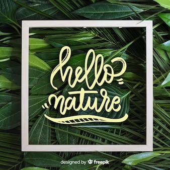 Natura lettering sfondo con foto