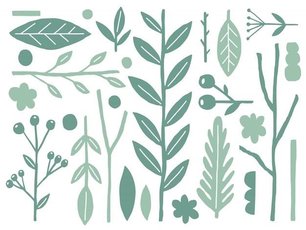Natura piatta naif set. le piante modellano isolato su bianco. fantasia di stile minimale.