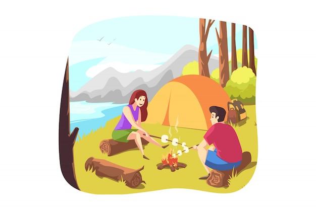 Natura, viaggi, escursioni, campeggio, concetto di turismo