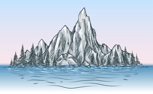 Natura vista montagna con fiume
