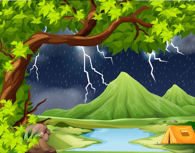 Naure storm camping scene