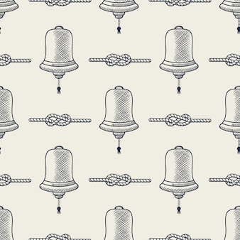 Nautica senza soluzione di continuità. elementi di campana e corda di nave. modello mare. schizzo a strisce di nodi marini della marina, stile disegnato a mano.