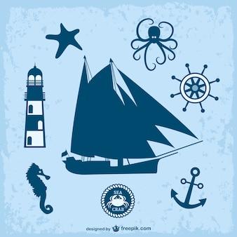 Nautica tema grafica vettoriale