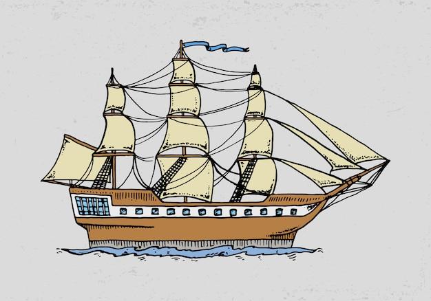 Nave da crociera o illustrazione della barca a vela. nel mare profondo. incisi disegnati a mano in stile schizzo antico, trasporto vintage.