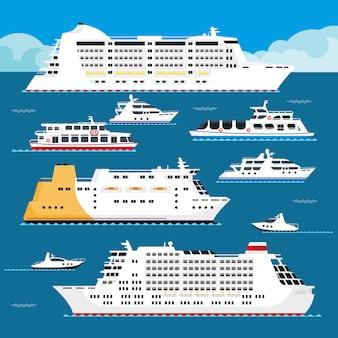 Nave passeggeri di vacanza piana di vettore di fodera di crociera del mare