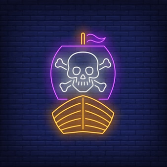 Nave pirata con teschio e ossa incrociate su insegna al neon vela