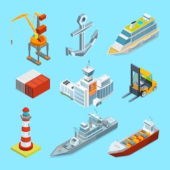 Navi, barche e terminal marittimo. contenitori di carico e gru per il caricamento