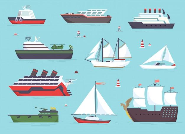 Navi in mare, imbarcazioni di spedizione, set di trasporto oceanico