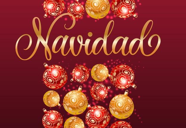 Navidad lettering con motivo baubles