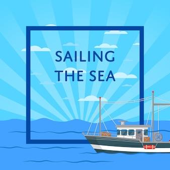 Navigando l'illustrazione del mare con la piccola nave