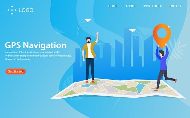 Navigazione gps, landing page con il concetto di illustrazione