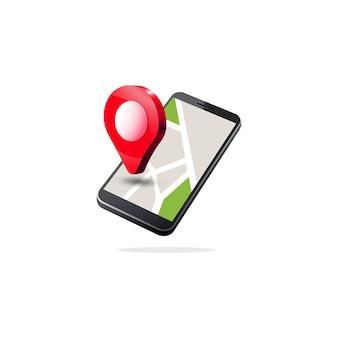 Navigazione gps mobile isometrica