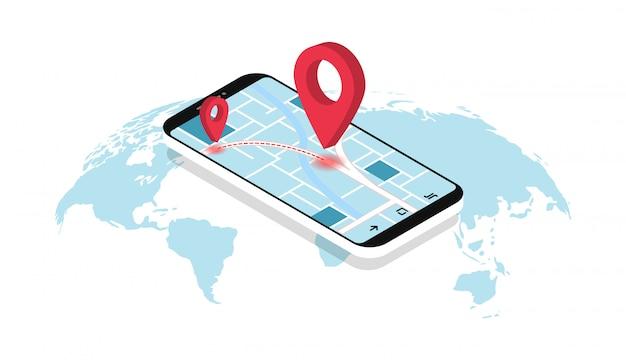 Navigazione gps. smartphone con mappa, percorso e puntatori. geolocalizzazione. mappa del mondo.