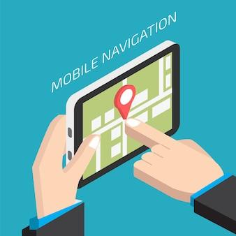 Navigazione mobile isometrica gps con tablet. uomo che tiene un tablet