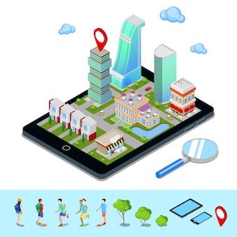 Navigazione mobile isometrica. industria del turismo. città moderna sullo schermo del tablet. illustrazione vettoriale