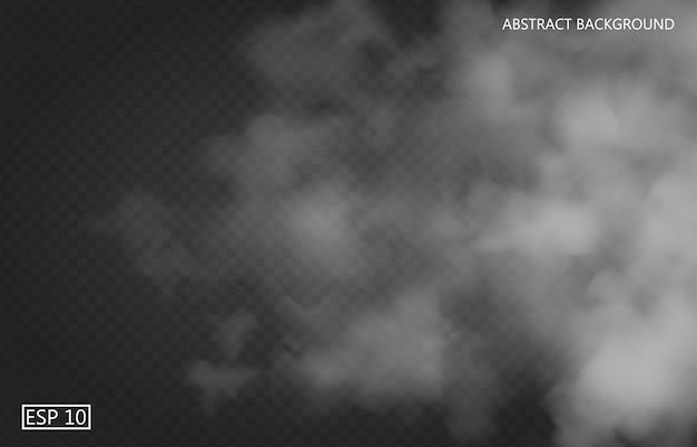 Nebbia bianca o fumo su sfondo trasparente isolato scuro. cielo nuvoloso o smog. illustrazione
