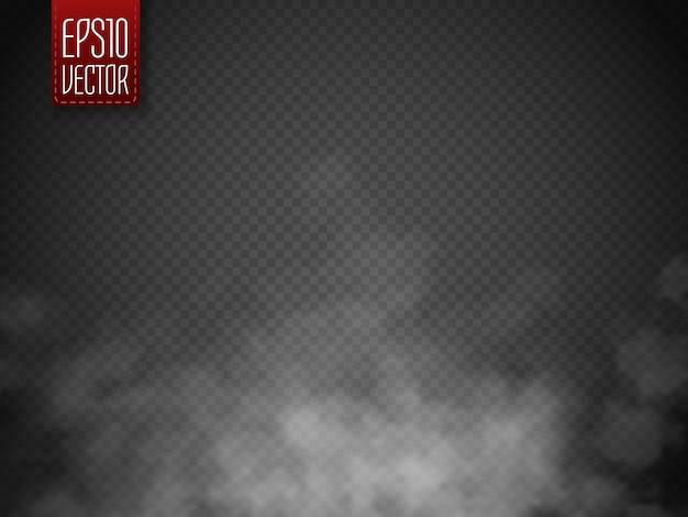 Nebbia o fumo isolato. nuvolosità, nebbia o smog bianchi di vettore