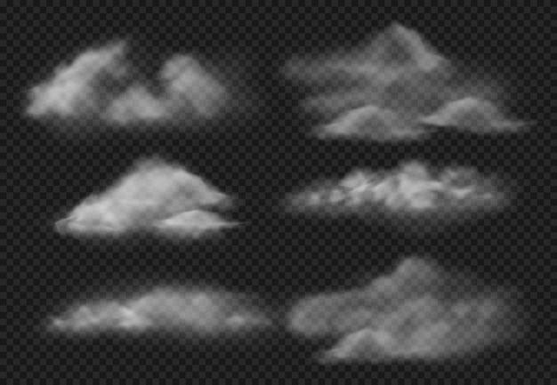 Nebbia realistica. insieme dell'illustrazione delle nuvole delle nebbie del vapore, della nuvola di fumo e del vapore acqueo