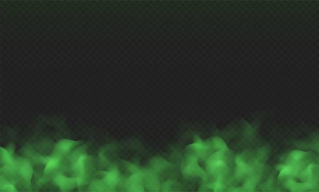 Nebbia verde, cattivo odore o nuvola di fumo tossica isolato su sfondo trasparente. effetto realistico di smog, foschia, nebbia o nuvolosità.