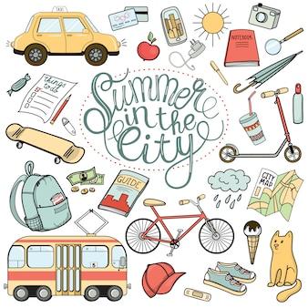 Necessità turistiche della città, set di scarabocchi colorati disegnati a mano