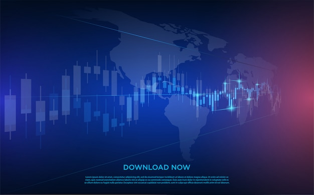 Negoziazione con l'illustrazione di un grafico a barre trasparente per il mercato azionario con un blu scuro.