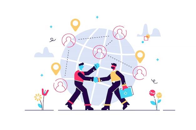 Negoziazione di partnership di successo, stretta di mano dei partner. affari internazionali, collaborazione commerciale globale, concetto di lavoro di squadra internazionale. illustrazione vibrante viola vibrante luminosa