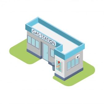 Negozio alla stazione di benzina, illustrazione isometrica.